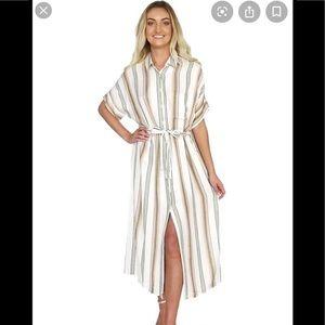 Striped Cream Dress(with belt tie) NWT
